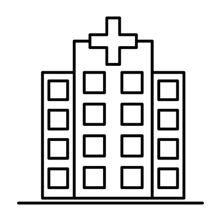 Hospital icon cross building isolated human medical view. Illustration