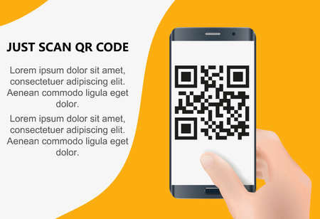 Scan QR code to Mobile Phone. Electronic , digital technology, barcode. Vector illustration. Standard-Bild - 125514514