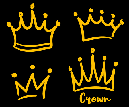 Vector crown logo. Hand drawn graffiti sketch and signs collections. Black brush line isolated on white background