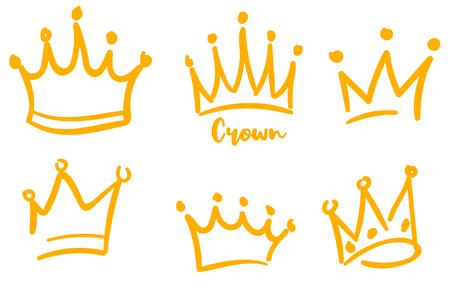 Logo de couronne de vecteur. Collections de croquis et de signes de graffiti dessinés à la main. Ligne de pinceau noir isolé sur fond blanc Logo