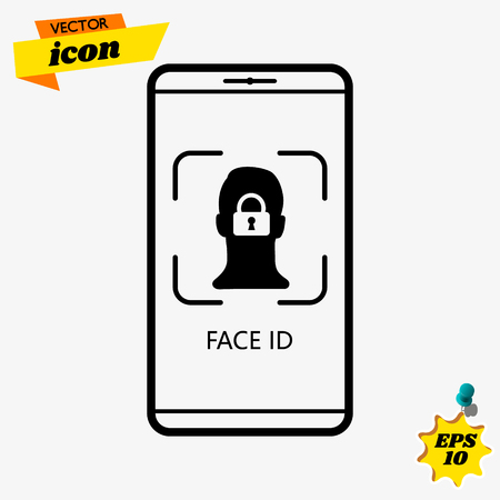 Visual infographics how work facial recognition system in smartphones vector illustration. Line art phone with scanning face Illustration