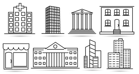 Real Estate Thin Line icons. Vector Outline Design Symbols for web.
