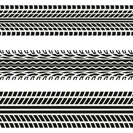 Set of seamless car tire tracks isolated on white background, seamless vector texture. Ilustração