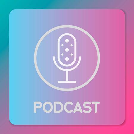 Table studio microphone icon. Broadcast sign. Podcast emblem design. Vector Radio mic illustration Stock Illustratie