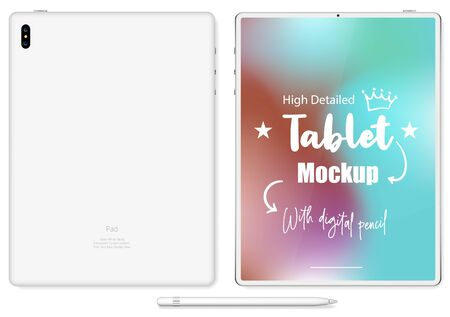 tablet in  style black color with blank touch screen isolated on white background.