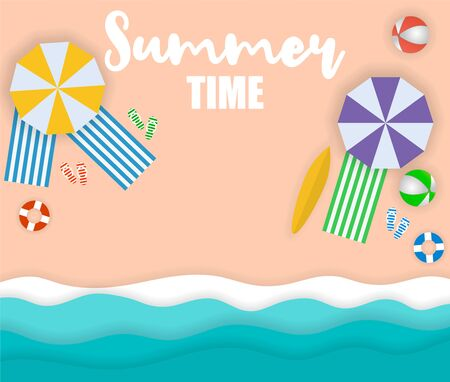 Top view beach background with umbrellas,balls,swim ring,sunglasses,surfboard,hat,sandals,juice,starfish and sea. 向量圖像