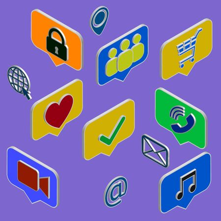 Social media flat 3d isometric concept vector icons. Desktop, chat, video, camera, phone, tablet. Flat web illustration infographics collection. Sign and symbol