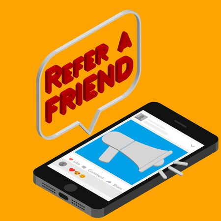 Refer a friend vector illustration concept, people shout on megaphone with refer a friend word, , can use for, landing page, template, ui, web, mobile app, poster,