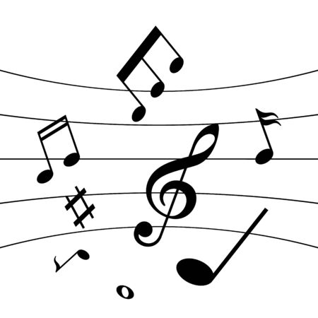 Music notes and melody vector icon isolated on white background.