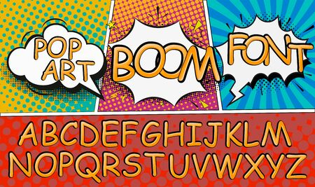 Wow. Creative high detail font for your design. The alphabet in the style of comics. Graphics pop - art on transparent background. Bright cartoon comic. 3d letters. Stock Illustratie