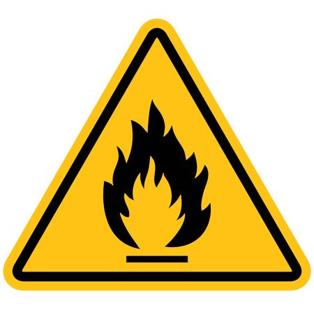 Flammable materials warning sign isolated on white background. Иллюстрация