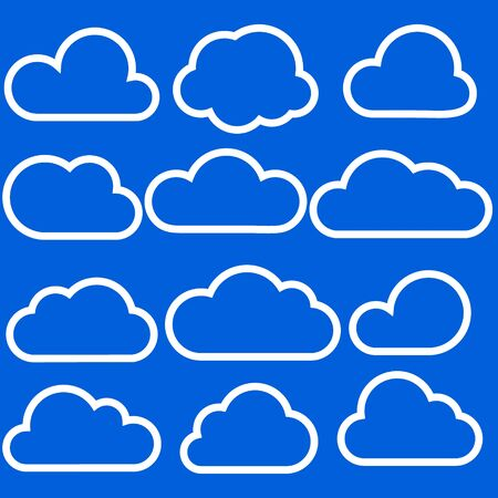 Set of clouds isolated on blue background. Weather signs. White paper stickers.