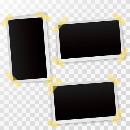 Set of empty photo frames with adhesive tape. photo frames