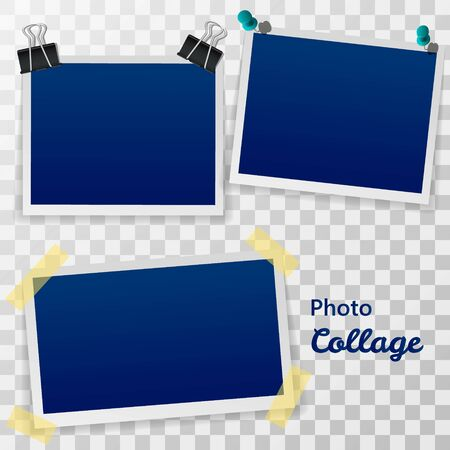 Set of blank retro frames with shadow isolated on a transparent background. Фото со стока
