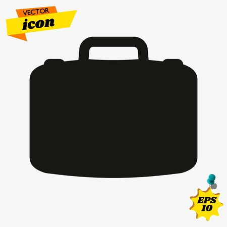 Suitcase, luggage, briefcase clear modern vector icon, toolbox vector icon, worker tools icon, toolkit