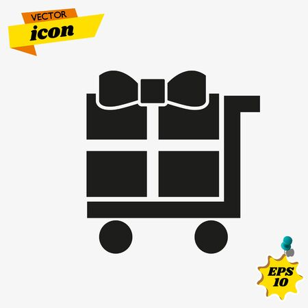 Hand pushing hand cart, or holding dolly cart with a white gift box with red ribbon on it. Delivery concept. Flat style Ilustração