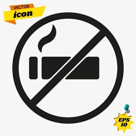 No Smoking Thin Line Vector Icon. Flat Icon Isolated on the White Background. Illusztráció