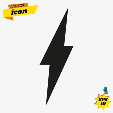 Lightning, electric power vector   design element. Energy and thunder electricity symbol concept. Lightning bolt sign in the circle. Flash vector emblem template. Power fast speed logotype