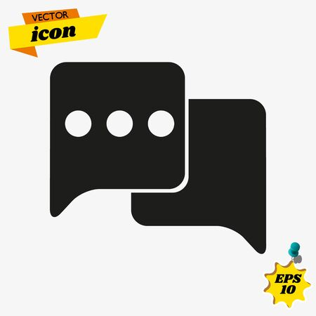 Chat Icon in trendy flat style isolated on grey background. Speech bubble symbol for your web site design Stock Illustratie