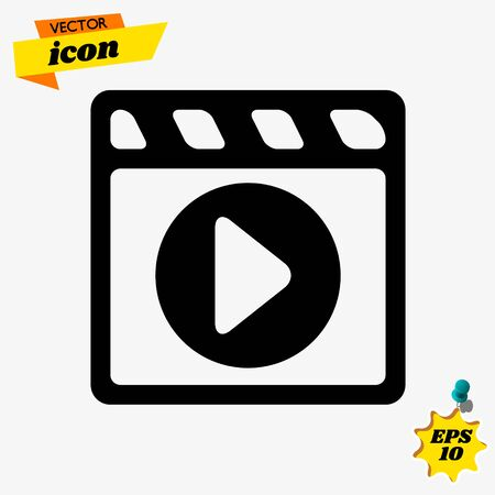film strip with play - vector icon with shadow illustration