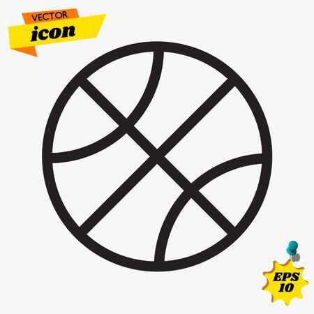 ball icon on white background, vector symbol Çizim