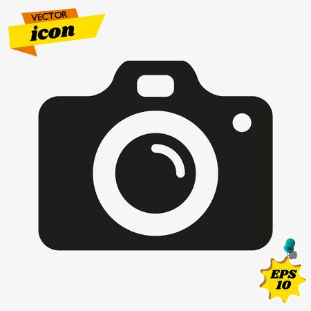 Camera Icon in trendy flat style isolated on white background. Ilustrace