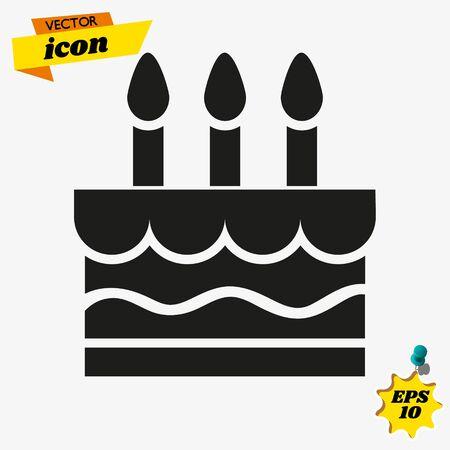 Birthday cake icon vector illustration. Happy birthday. Cake for birthday celebration with three candles.