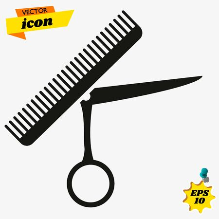 Logo for the hairdresser. Black and white icon for a barbershop. Çizim