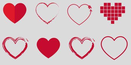 Heart symbol set for Valentines Day. Vector illustration Ilustração