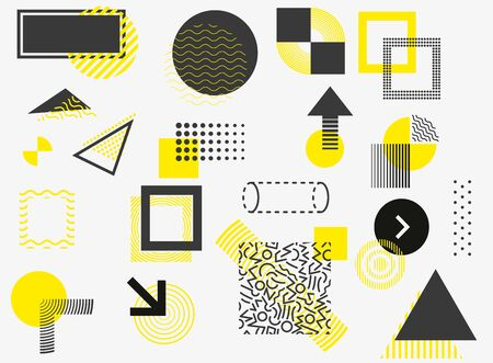 Universal trend halftone geometric shapes set juxtaposed with bright bold yellow elements composition. Design elements for Magazine, leaflet, billboard, sale.