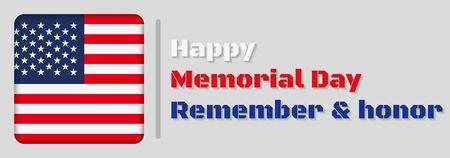 Happy Memorial Day greeting card. Vector illustration. Çizim