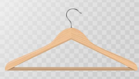 Realistic vector clothes coat wooden hanger close up isolated on transparency grid background. Design template, clipart or mockup for graphics, advertising etc