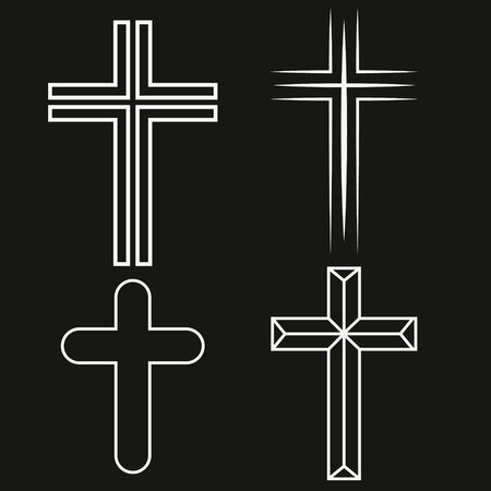 Vector white crosses icon set on black background. Archivio Fotografico - 130786742