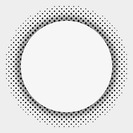 Halftone dotted background circularly distributed. Halftone effect vector pattern. Circle dots isolated on the white background Ilustração