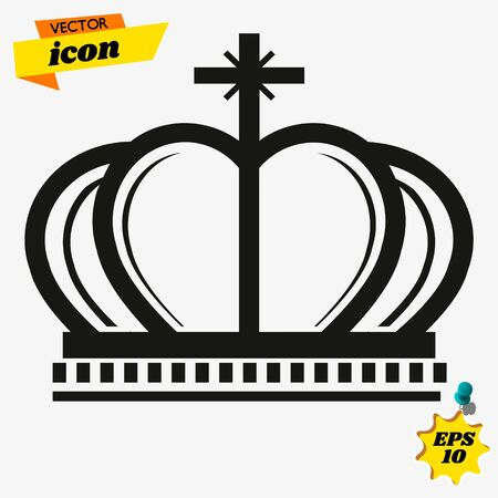 Crown Icon in trendy flat style isolated on grey background. Crown symbol for your web site design, logo, app, UI.