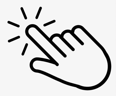click hand finger icon, cursor clicking icon vector, on white background editable