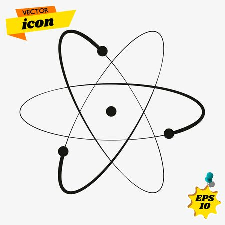 Atom Icon in trendy flat style isolated on grey background. Illusztráció