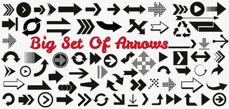 arrows vector collection black. Different black Arrows icons,vector set. Abstract elements for business infographic. Up and down trend. Illusztráció
