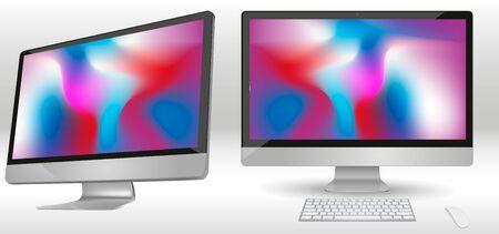 Moderner Computermonitor lokalisiert auf Hintergrund. Vektormodell. Realistische Vektorillustration