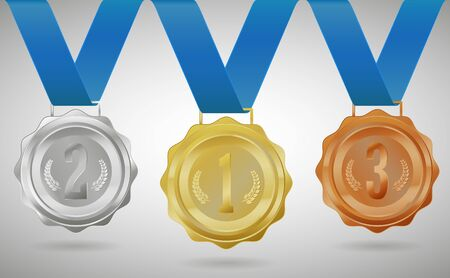 Gold, silver and bronze medals. Vector illustration.