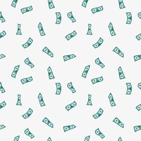 Money rain pattern. Falling hundred dollar banknotes isolated on white background. Illustration for credit, savings, success, charitable concepts