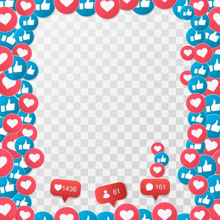 Vector 3D Social Network Like Icons Abstract Illustration Isolated on transparent Background