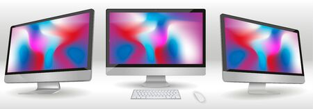 Modern computer Monitor isolated on background. Vector mockup. Vector realistic illustration Foto de archivo - 130787355
