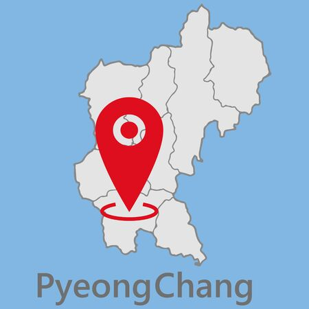 vector map of South Korea with important cities and roads country Pyeongchang geography cartography Illusztráció