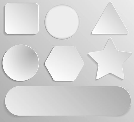 Set of white paper stickers of different shapes on gray gradient background. Round, square, hexagonal, star, triangular