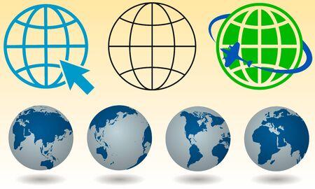 earth icons set. globe, icon. Vector illustration