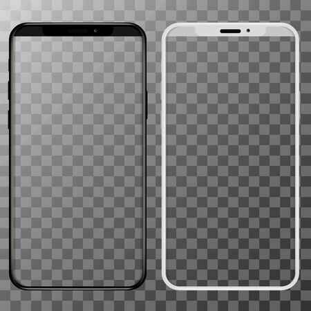 Realistic smartphones mockups black and white color. Stock vector illustration for printing advertising, web element, Game demo and application mockup