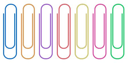 Colorful paper clips set isolated on white background.