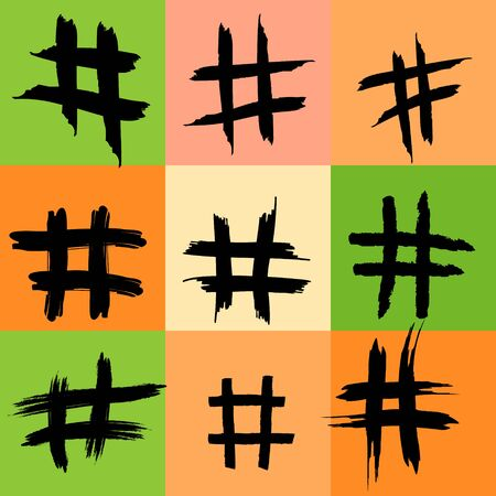 Hashtag Symbol Pattern, Hashtags, Hash tag, Colorful Background, Illustration, Grunge Texture, Internet concepts