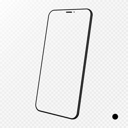 Smartphone frame less blank screen, rotated position. 3d isometric illustration cell phone. Smartphone perspective view. Template for infographics or presentation UI design interface. vector.